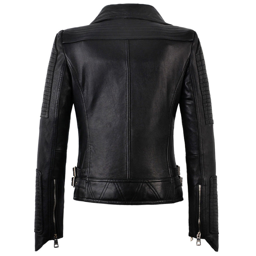 Meredith's Biker style jacket with side zipper