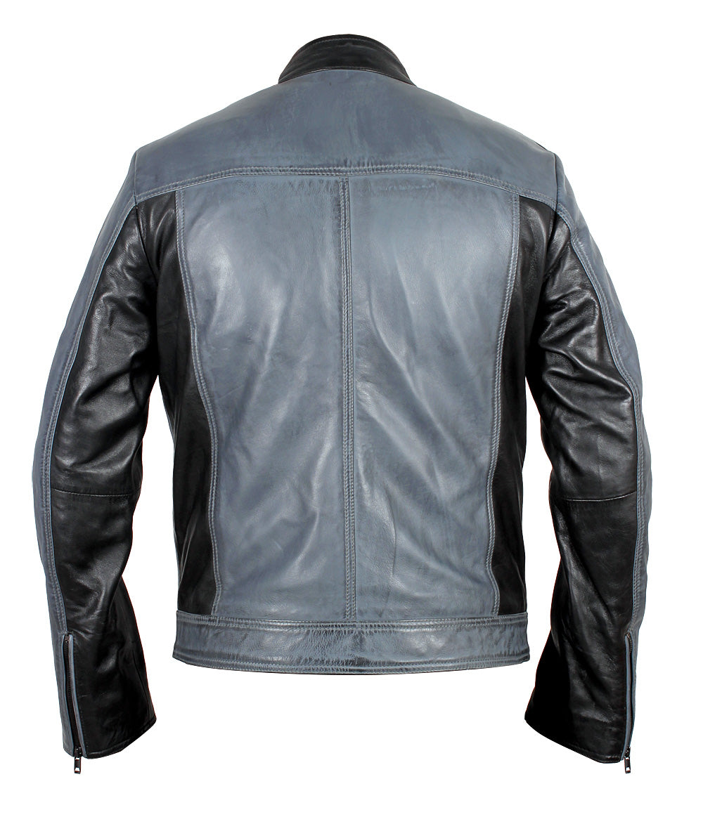 Android black and grey leather jacket