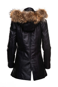 Jazmyn's long Winter coat with real fox fur hoodie