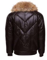 Downes V-Bomber style Puffer Winter Leather Jacket with fur collar
