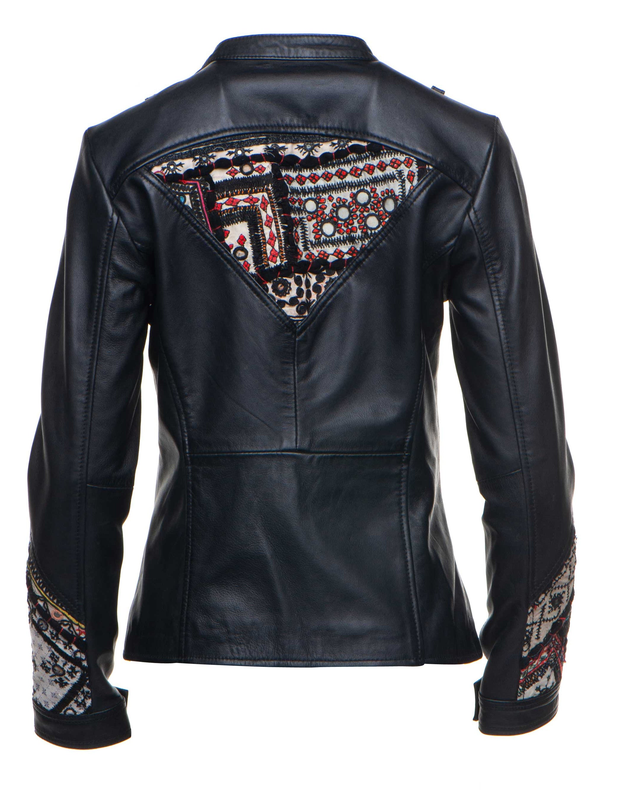 Delilah's bohemian chic leather jacket with tribal hand embroidered fabric