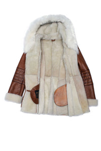 Ayva's Tan Shearling coat with fox fur trim Hoodie