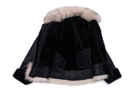 Cecily's Black Shearling Sheepskin with Fox fur trim