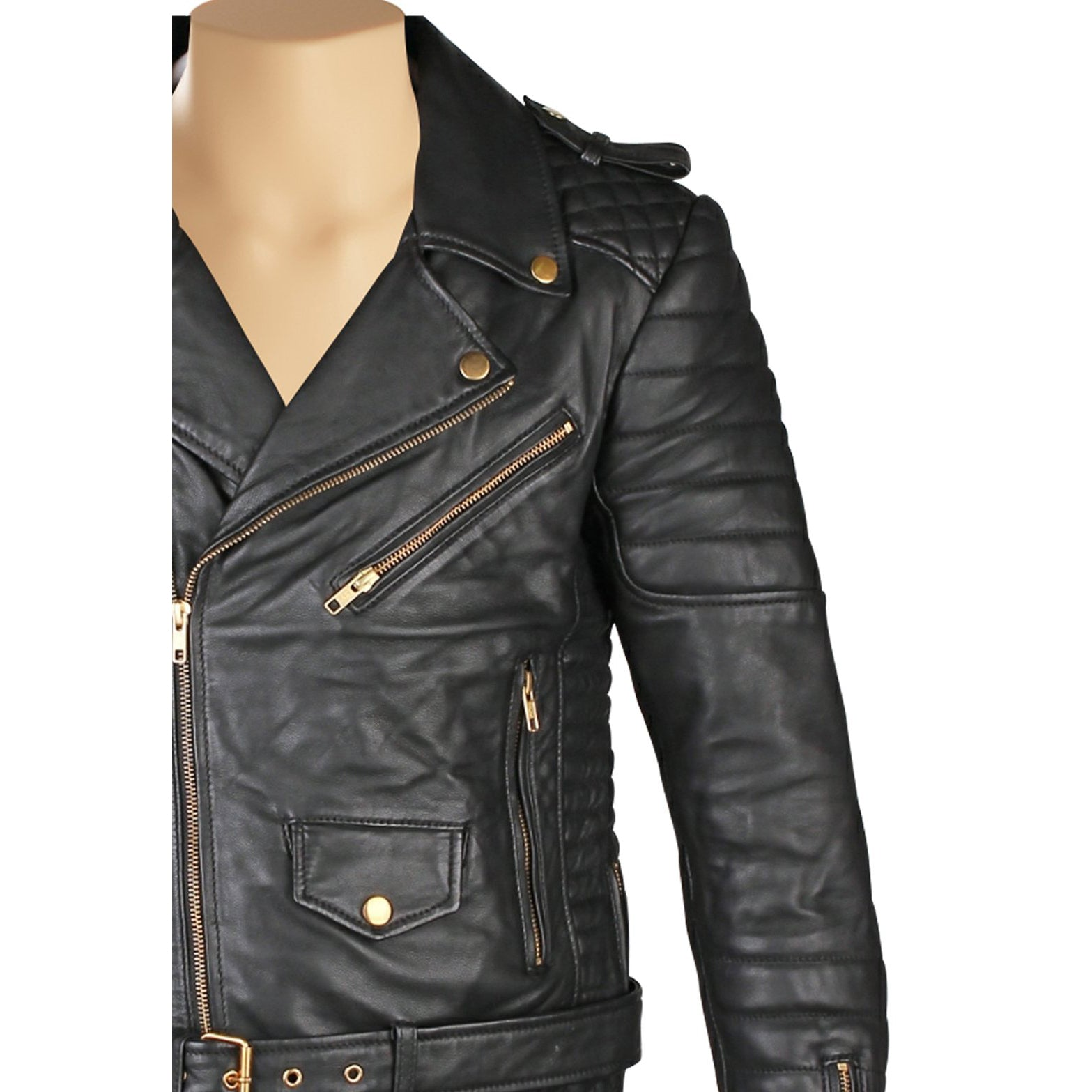 Mercado's quilted biker leather jacket with waist belt