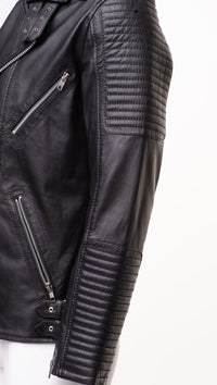 Micheals Biker style leather jacket with Snap buttons closure