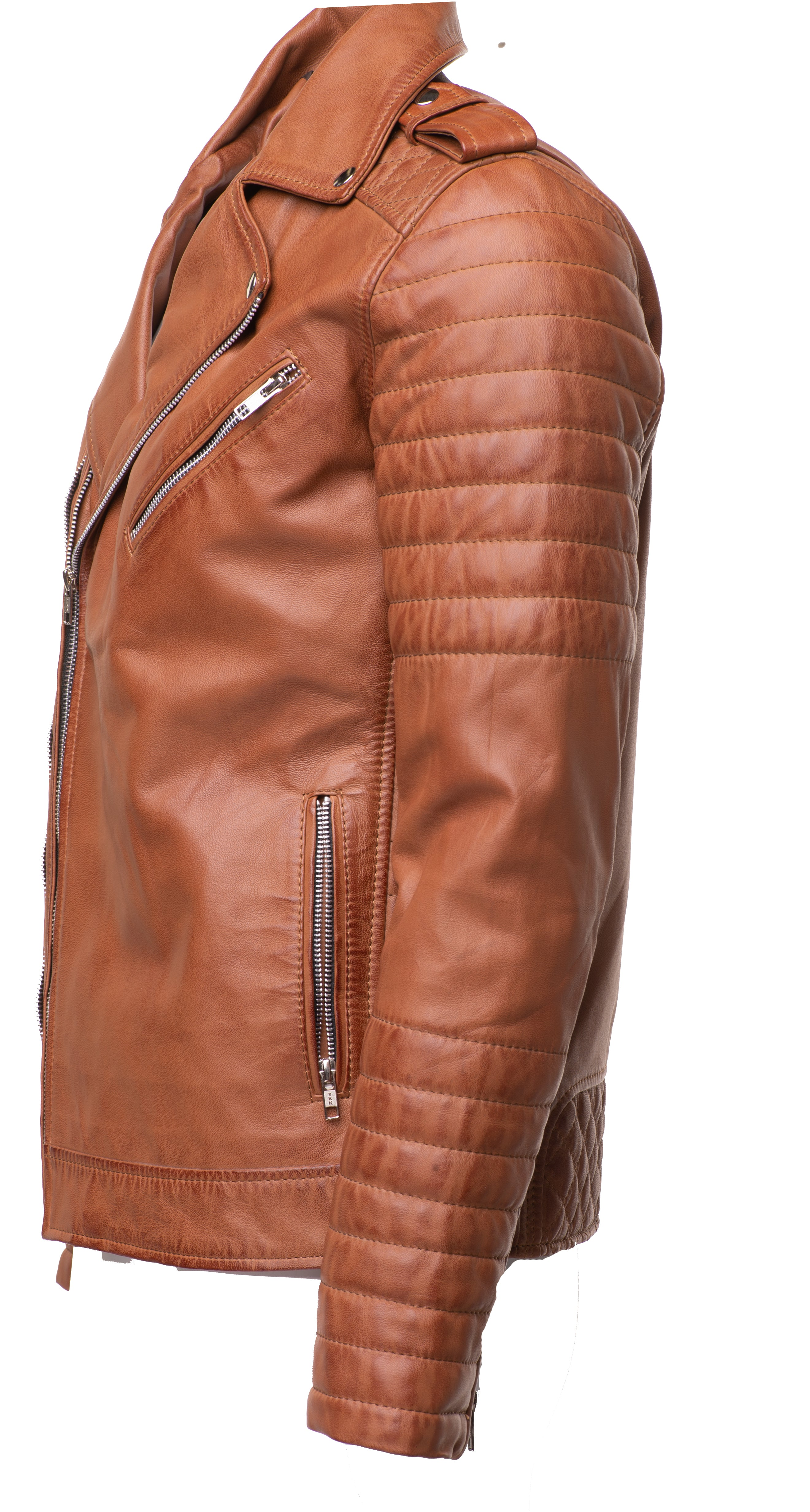 Tan Quilted Biker leather jacket