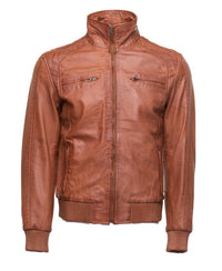 Beltrans sand washed leather jacket with stretch leather hems & cuffs