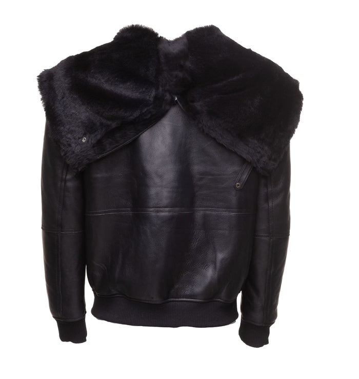Gregos Varsity Style Sheepskin Shearling Jacket with Large Hoodie
