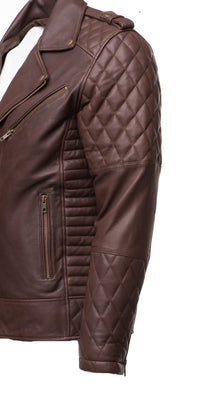 Brown Quilted Biker leather jacket with diamond stitching details