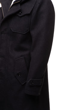 Black Wool 3/4 length trench coat