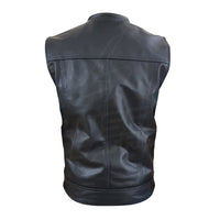 "Collarless ""Club Rider"" Motorcycle leather Vest with zippered lining for patches"