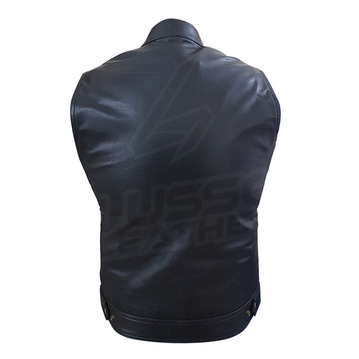 "The ""Club Rider"" Motorcycle leather Vest with zippered lining for patches"