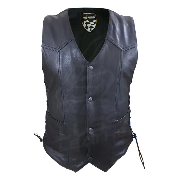 Laced Unisex Motorcycle leather vest with adjustable side laces