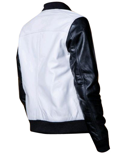 Enya's black and white collarless leather jacket