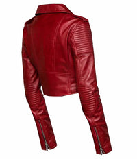 Martyna's Red crop biker leather jacket with waist belt
