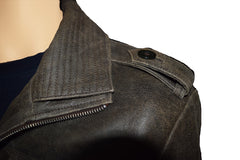 Distressed leather jacket with point collar - Lusso Leather - 3