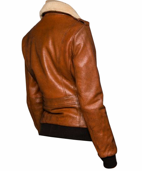 Dominic's bomber style leather jacket with fur collar