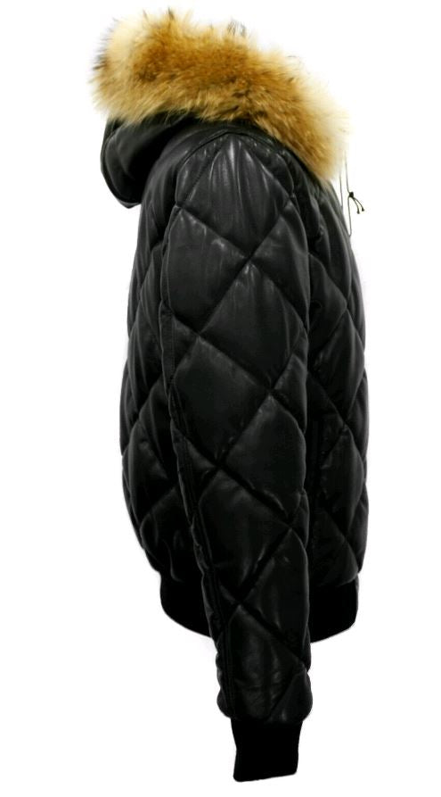 Joel quilted puffer winter leather jacket with diamond stitching and fur hoodie