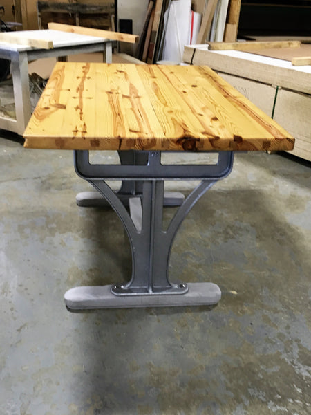 Heart Pine Island with Cast Iron Legs