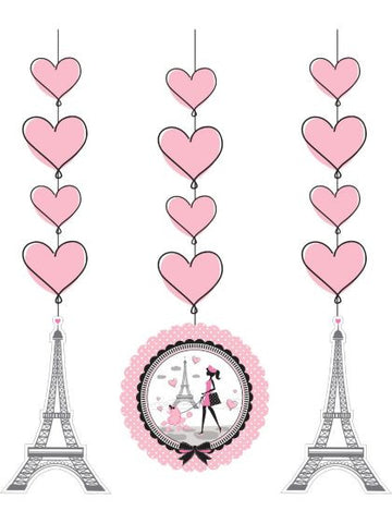 "Paris Party 36"" Hanging Decorations (3 Pack)"
