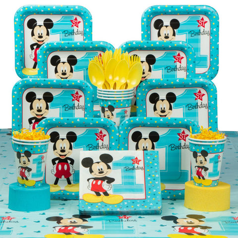 Astounding Mickey Mouse 1St Birthday Deluxe Tableware Kit Serves 8 Yelm Birthday Cards Printable Trancafe Filternl