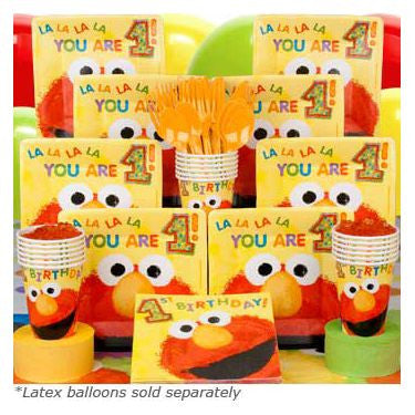 Elmo's 1st Birthday Deluxe Tableware Kit Serves 16 Guests