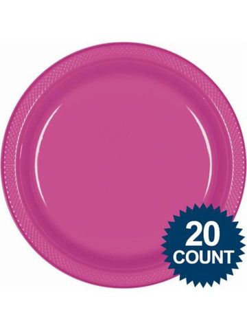"Hot Pink 10"" Plastic Dinner Plates (20 count)"