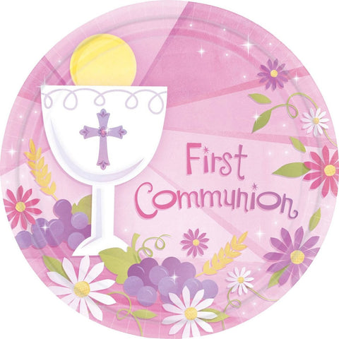 "First Communion Girl 10"" Luncheon Plates (18 Pack)"