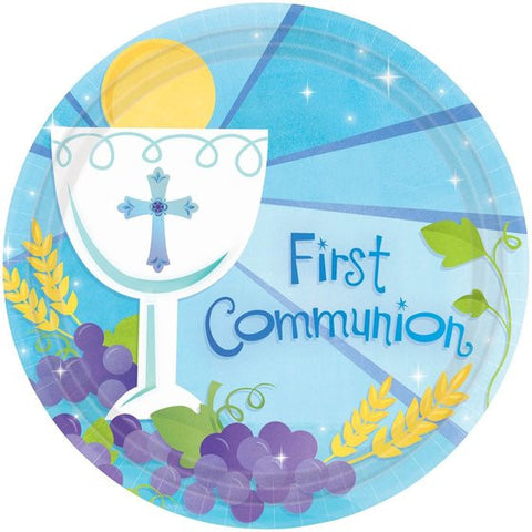 "First Communion Boy 10"" Luncheon Plates (18 Pack)"
