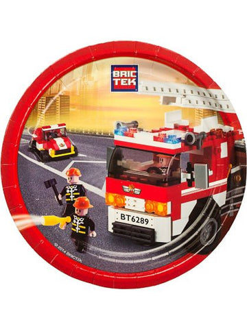 "Bric Tek Lego Firefighter 9"" Luncheon Plates (8 pack)"