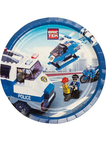 "Bric Tek Lego Police 9"" Luncheon Plates (8 pack)"