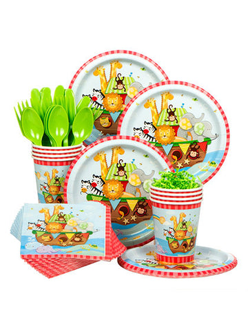 Noahs Ark Birthday Party Supplies Set Plates Napkins Cups Tableware Kit for 16