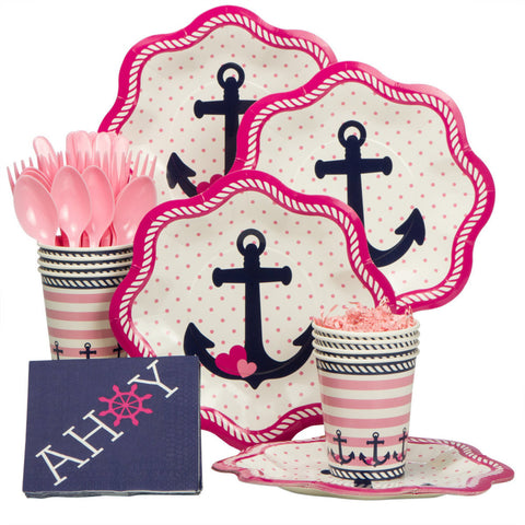 Nautical Pink Standard Party Kit (serves 8)
