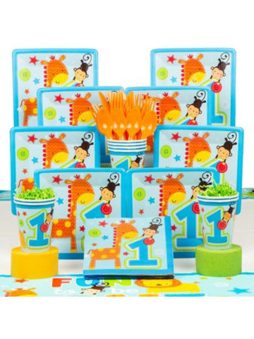 Wild Boy 1st Birthday Deluxe Tableware Kit Serves 8