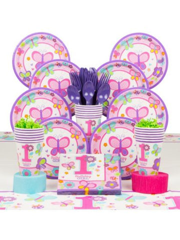 Sweet 1st Birthday Girl Deluxe Tableware Kit Serves 36