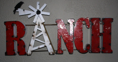 New Recycled Rustic Tin Metal RANCH sign with WINDMILL