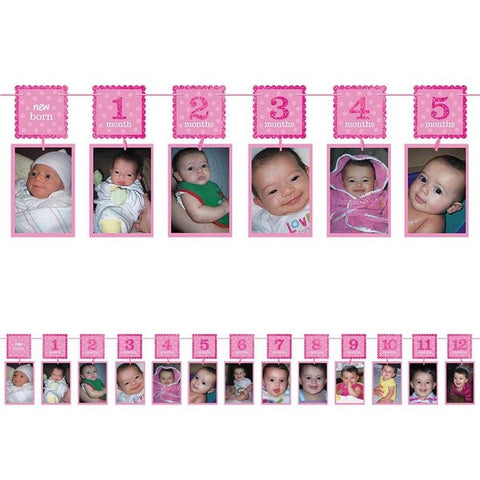 1st Birthday PINK Photo Garland