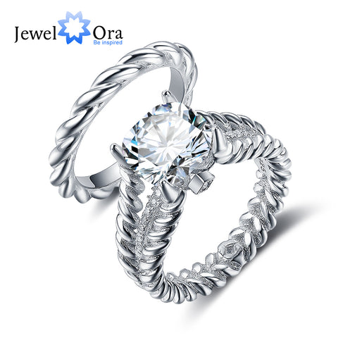 Hemp Rope Shape Wedding Ring Sets 925 Sterling Silver Jewelry