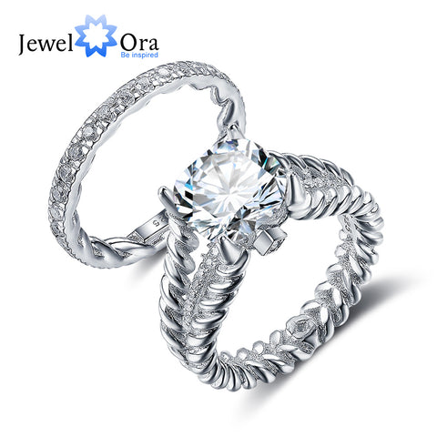 Luxury Wedding Jewelry 10mm 3.5 CT Hearts And Arrows Round Cubic Zirconia 925 Sterling Silver Ring Sets (JewelOra RI102342)