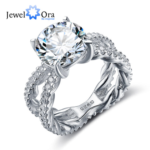 Wedding Ring 12mm 6.5 CT Hearts And Arrows Cubic Zirconia 925 Sterling Silver Rings For Women (JewelOra RI102328)