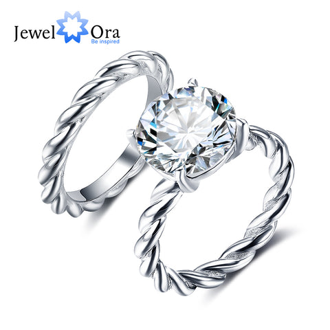 Spiral Shape Ring Sets 12mm 6.5 CT Hearts And Arrows Cubic Zirconia 925 Sterling Silver Rings For Women (JewelOra RI102333)