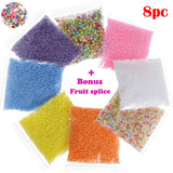 8 Pack Colorful Foam Beads for Slime Plus Bonus Fruit Splice