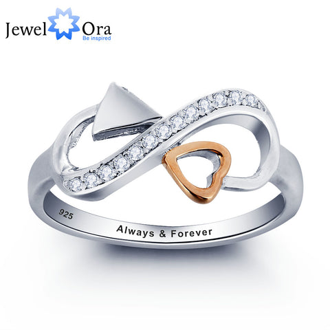 Personalized Love Promise Ring 925 Sterling Silver Heart Arrow Ring Valentine's Day Gift (JewelOra RI101807)