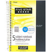 "Five Star® 5-Subject Premium Notebook, 11"" x 8-1/2"", 400 Pages"