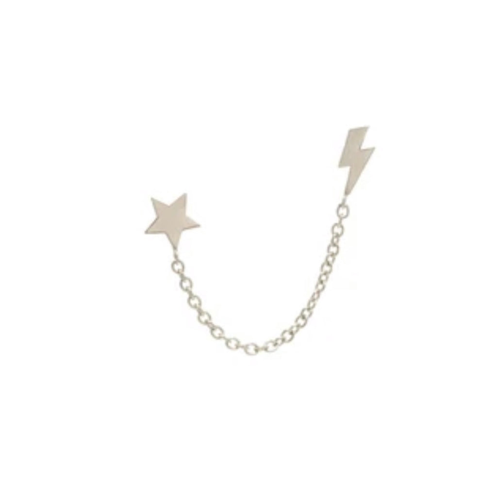 Star + Bolt Chain Earrings