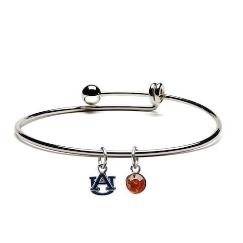 Auburn University Blue AU Charm Bangle Bracelet -  Gift ideas