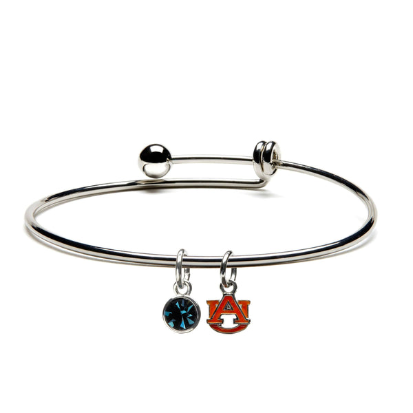 Auburn University Orange AU Charm Bangle Bracelet - Grad gift ideas