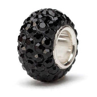 Black Crystal Bead - Silver Core