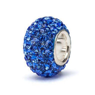 Blue Crystal Bead - Silver Core
