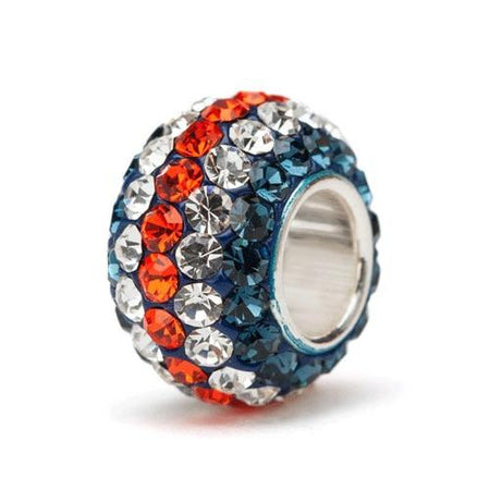 Navy, Orange and Clear Spotted Crystal Bead Charm Set
